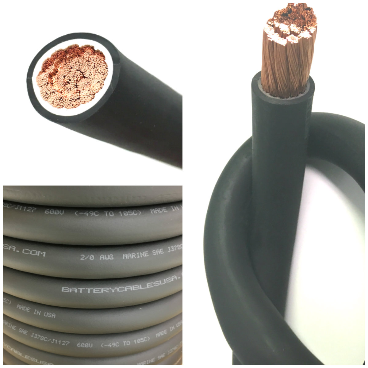 2 Gauge Battery Cable Bulk : Battery cable awg size gauge black copper