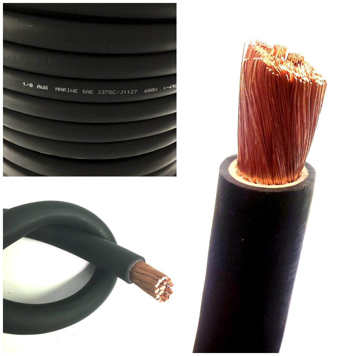 Wondrous Battery Cable 1 0 Awg Size 0 Gauge Black Copper Flexible Wiring 101 Capemaxxcnl