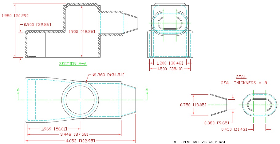 Marine battery terminal adapter boot specs drawing